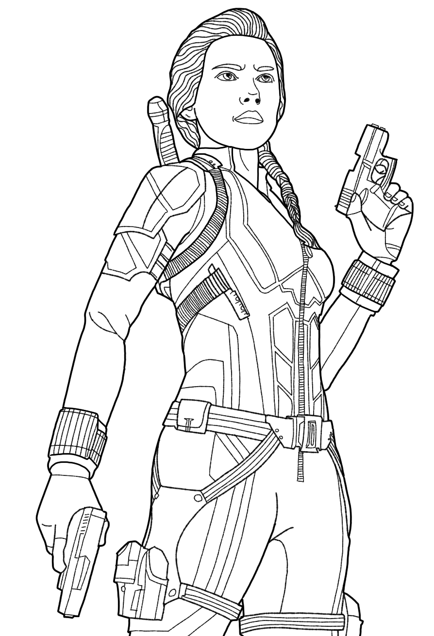 Black Widow Endgame Superhero Coloring Pages